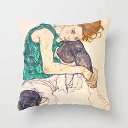 "Egon Schiele ""Seated Woman with Legs Drawn Up"" Throw Pillow"