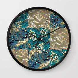 Japanese Print Sea Sky Earth - Aqua Wall Clock