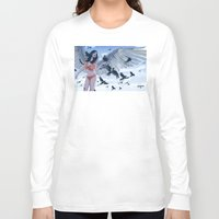 raven Long Sleeve T-shirts featuring Raven by Radical Ink by JP Valderrama