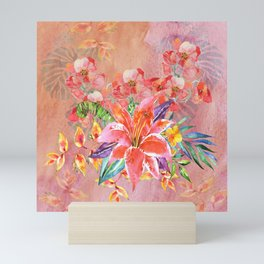Hawaiian Lily Garden in Watercolor Mini Art Print