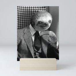 Gentleman Sloth in fancy armchair Mini Art Print