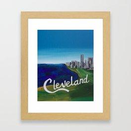 Cleveland CLE Ohio Lake Erie Skyline Painting Framed Art Print