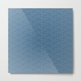 Ink dot scales - white on Blue D Metal Print