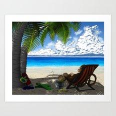 Monkey on the Beach Art Print