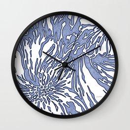 Animal Blossom Indigo Blues Wall Clock