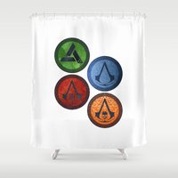 games Shower Curtains featuring Assassin Games by AngoldArts