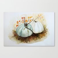 craftberrybush Canvas Prints featuring Pumpkin Patch - Watercolor by craftberrybush