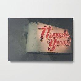 Thank You Sign Metal Print