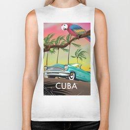 Cuba vintage travel poster print Biker Tank