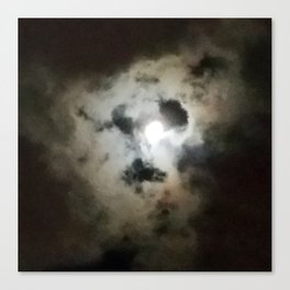 Clouds and Moon at Night Canvas Print