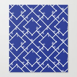 Bamboo Chinoiserie Lattice in Blue + White Canvas Print