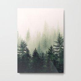 Foggy Pine Trees Metal Print