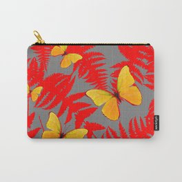 Red Fern Fronds With Yellow Butterflies & Grey Color Carry-All Pouch