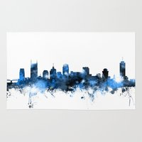 nashville Area & Throw Rugs featuring Nashville Tennessee Skyline by artPause