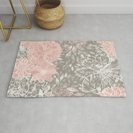 Floral Pattern Dahlias, Blush Pink, Gray, White Rug