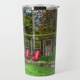 Resting place for two in a city park  Travel Mug