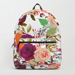 Modern fuchsia pink coral green watercolor roses Backpack