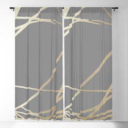 Gold and Gray Circles and Swirls Striped Abstract Pattern Blackout Curtain