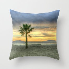 Palm Tree and Sunset Throw Pillow