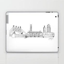 Kansas City Skyline Illustration Black Line Art Laptop & iPad Skin