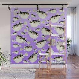 Puffer Fish Violet Purple Pattern Wall Mural