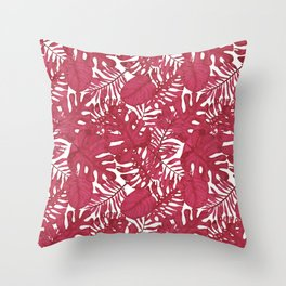Modern tropical bright pink cheese leaves floral Throw Pillow