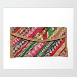 Antique Batik Patchwork Clutch Bag Purse Art Print