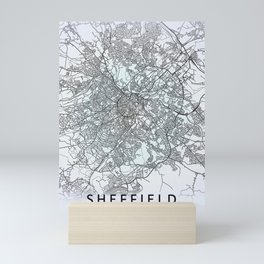 Sheffield, England, White, City, Map Mini Art Print
