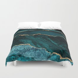 Teal Blue Emerald Marble Landscapes Duvet Cover