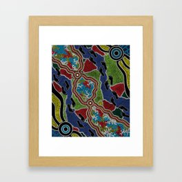 Aboriginal Art Authentic - Walking the Land Framed Art Print