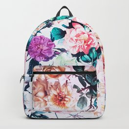 Modern blush pink green watercolor roses floral Backpack