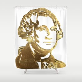 First President of The USA George Washington Gold Look Portrait Bust Shower Curtain