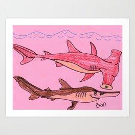 Hammerhead & Spade Nose Sharks Art Print