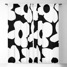 White Retro Flowers Black Background #decor #society6 #buyart Blackout Curtain