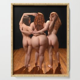 2527  The Three Muses, Small Medium and Large Nude Women Booty Redheads Rear View Behind Fat Art Serving Tray