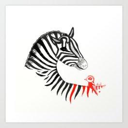 Black Zebra and Orange Bird Art Print