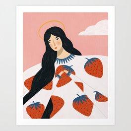 Strawberry angel  Art Print