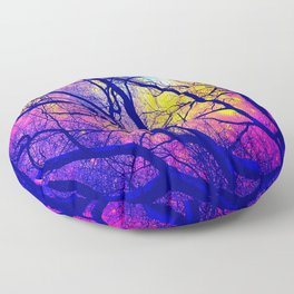 Black Trees Deep Bright & Colorful Space Floor Pillow