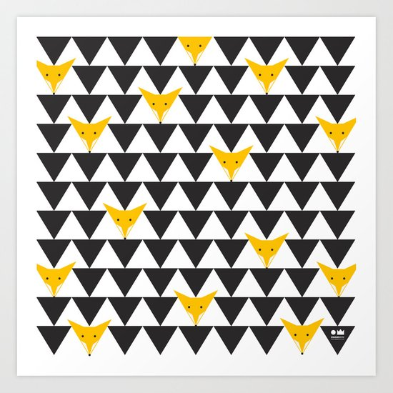 TRIANGLE HIDDEN FOXES PATTERN in black, white and orange Art Print