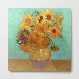 Vincent Van Gogh Twelve Sunflowers In A Vase Metal Print
