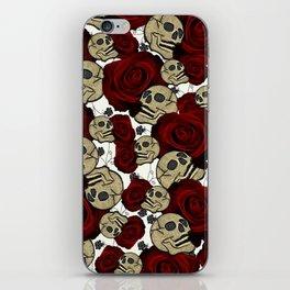 Red Roses & Skulls Black Floral Gothic White iPhone Skin