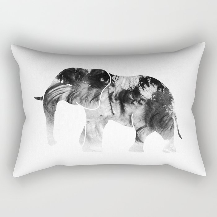Black & White Abstract Elephant Rectangular Pillow