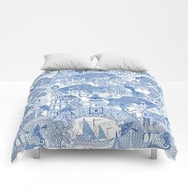 chinoiserie toile blue Comforters