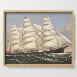Vintage Ship Art - Nautcal Decor Serving Tray
