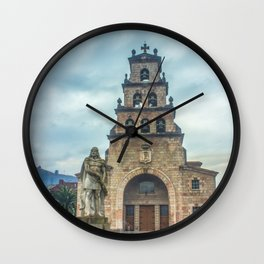 Statue of the King Pelayo and Santa Cruz chapel Wall Clock