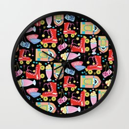 Roller Skate Party Black Background Wall Clock