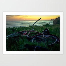 turned over bike Art Print