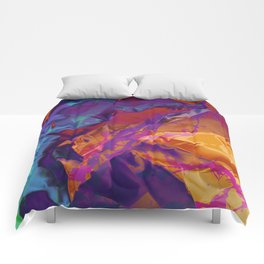 Dragon's Back. Dynamic, Blue, Purple and Orange Abstract. Comforters