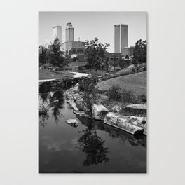 Tulsa Oklahoma Skyline and River Black and White Canvas Print