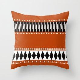 Bohemian orange, black&white tribal vibe Throw Pillow
